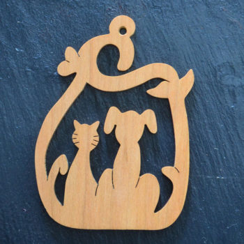 Christmas Ornament Cat & Dog in Ivy 205